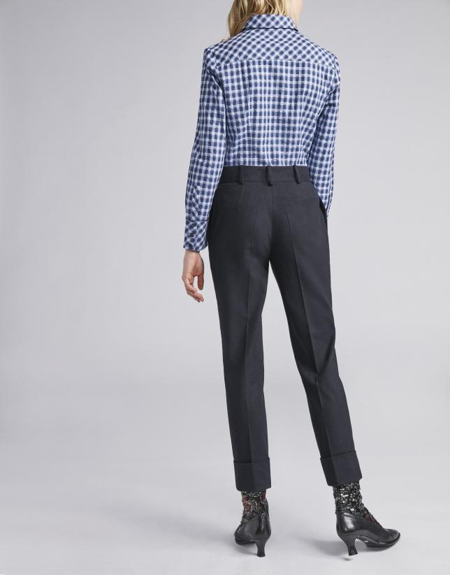Pantalon à pinces bleu marine