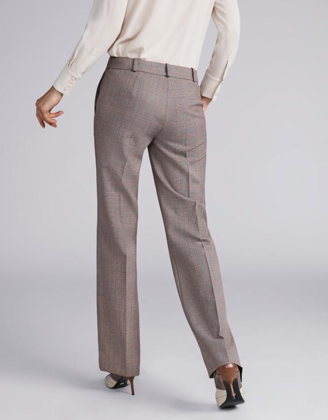 Pantalón príncipe de gales marrón