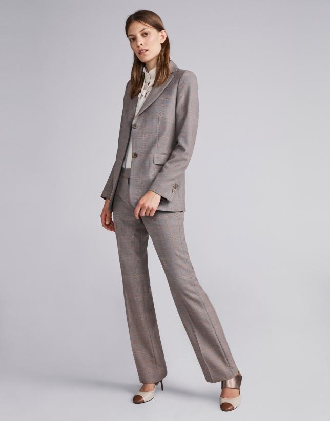 Brown glen plaid suit jacket