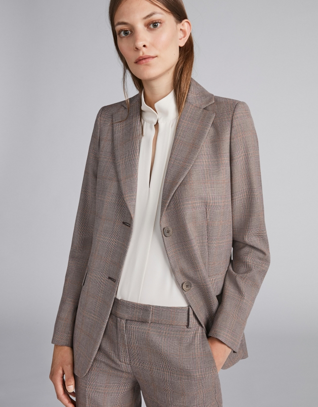 Brown glen plaid suit jacket