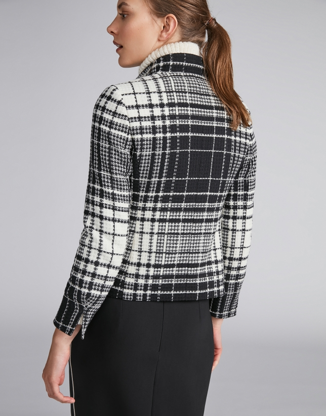 Checked leather jacket