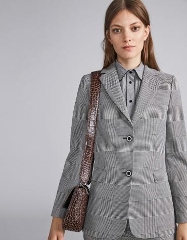 Grey glen plaid suit jacket