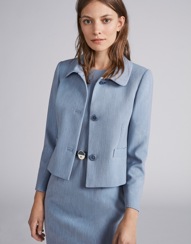 Light blue short fitted jacket