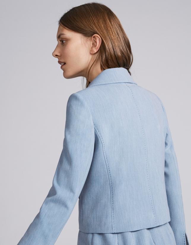 10a6f03ce84e4 Veste courte cintrée en bleu ciel - Femme | Roberto Verino