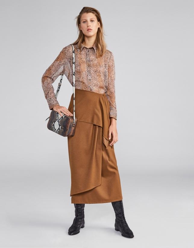 Camel sarong effect midi skirt