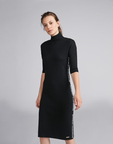 Plain black knit dress with RV jacquard