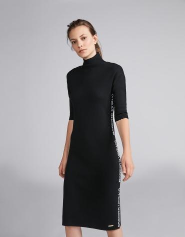 Vestido de punto liso negro con jacquard RV