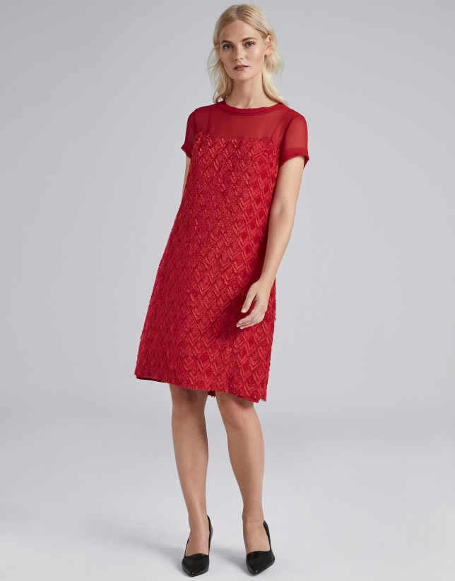 Poppy-colored, fil coupé midi dress