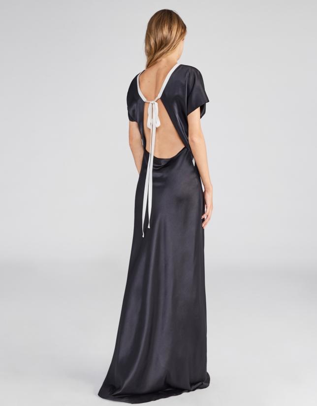 Vestido largo lencero negro