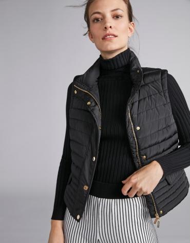 Black quilted vest