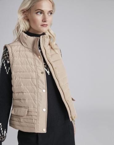 Beige quilted vest