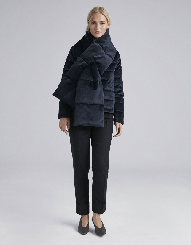 Navy blue velvet quilted parka