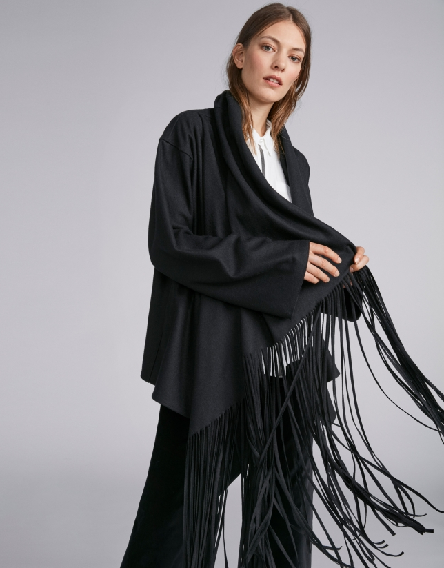 Black cape-effect jacket with fringe