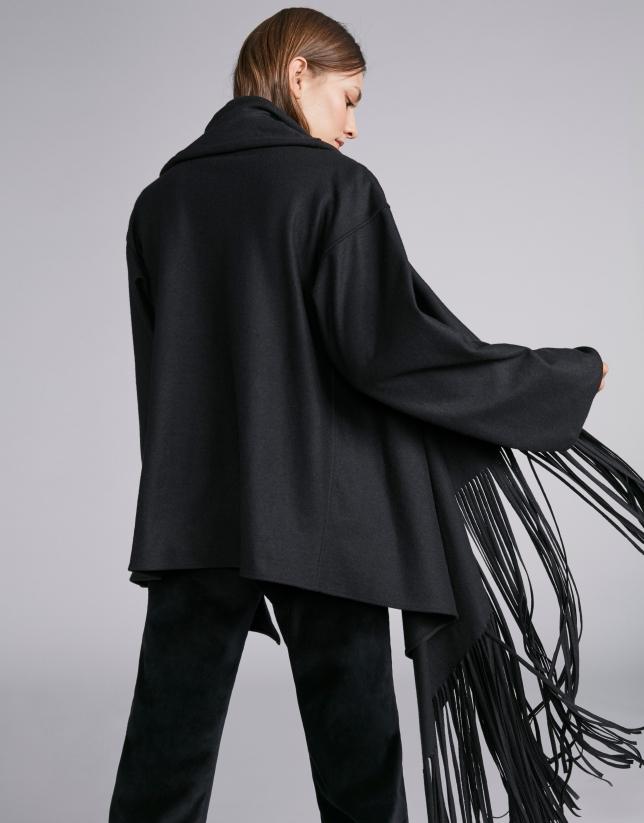 Black cape-effect jacket with fringe