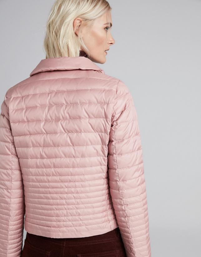 Chaqueta corta de plumón rosa