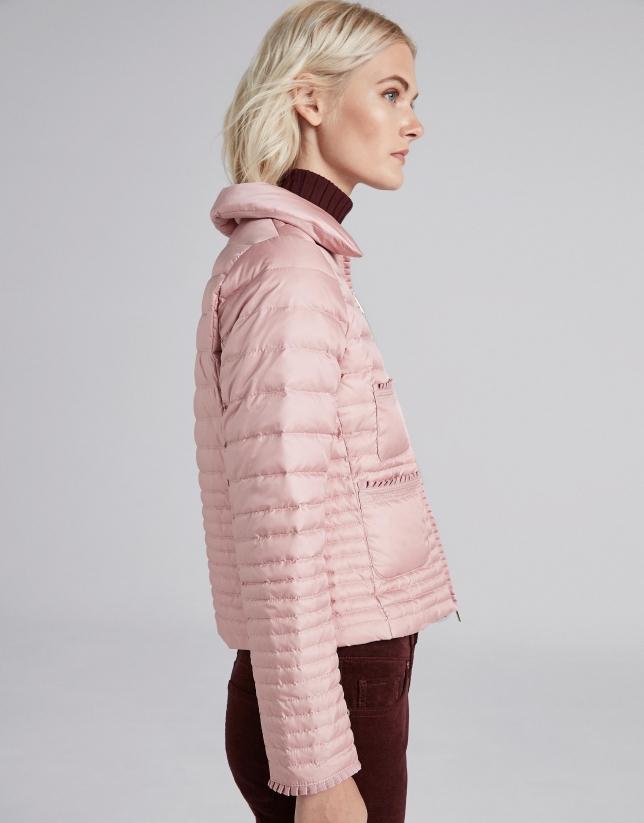 Short pink down jacket