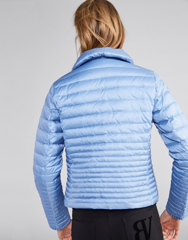 Short blue down jacket