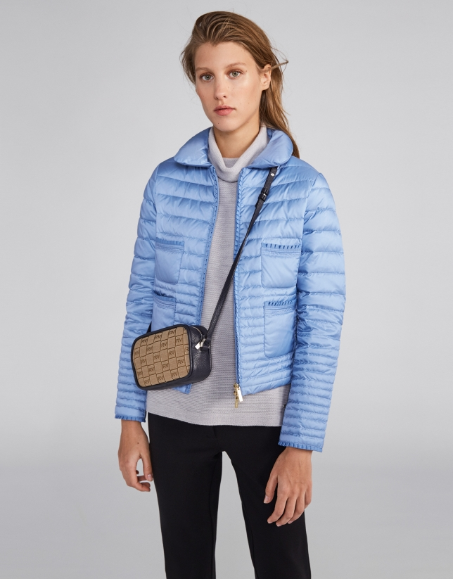 Short blue down jacket