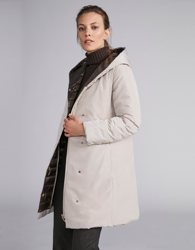 Coffee-colored, reversible quilted long parka