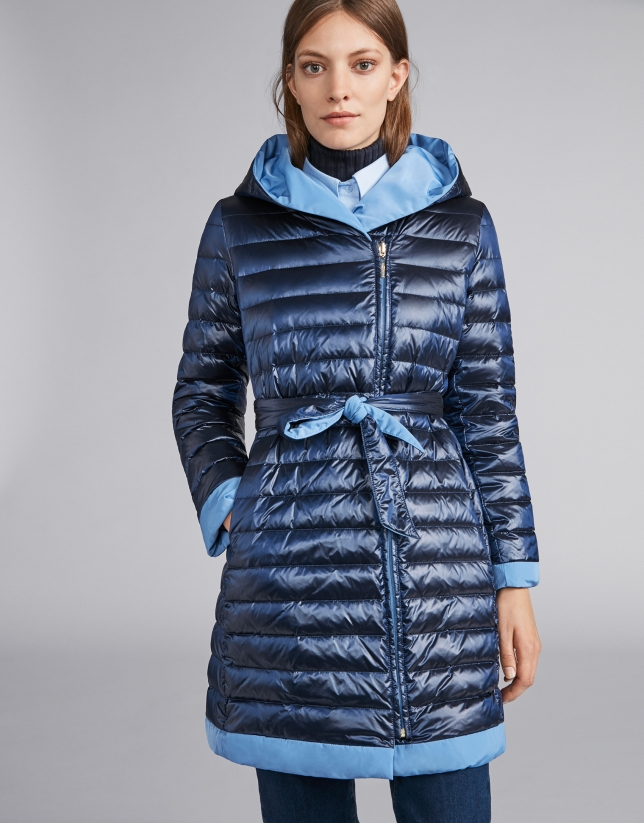 Navy blue reversible quilted long parka