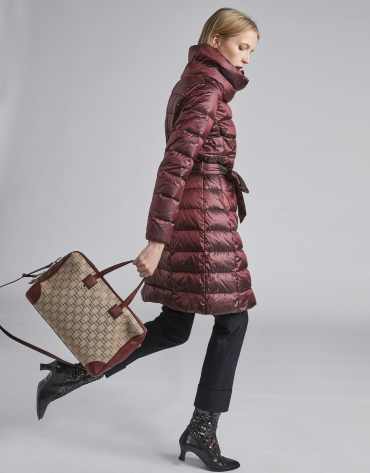 Burgundy long ski jacket with belt