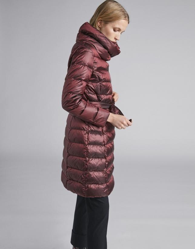 Burgundy long ski jacket with belt