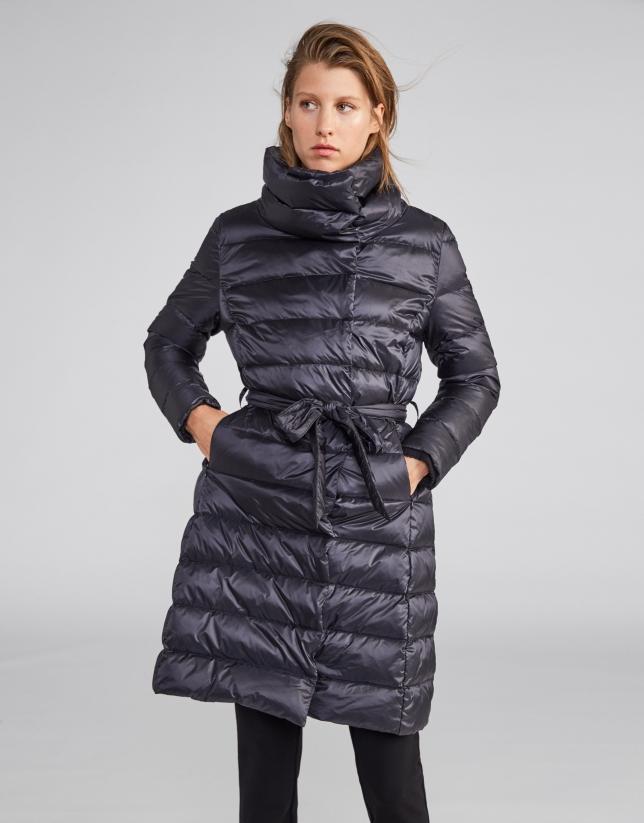 Marengo gray long ski jacket with belt