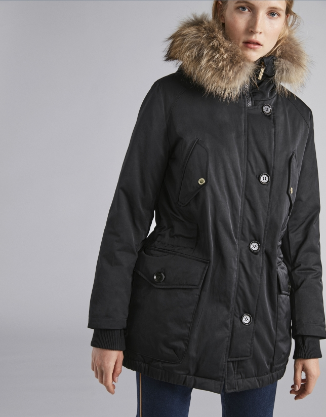 Black parka with fox fur and hood