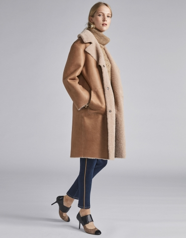 Manteau en cuir double face réversible beige