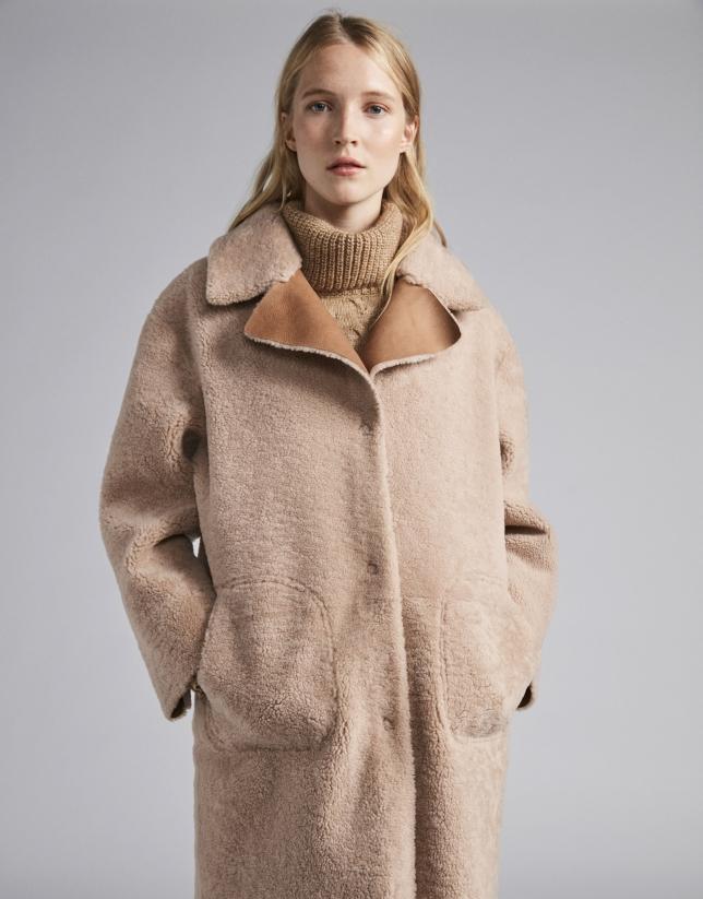 Manteau en cuir double face réversible beige