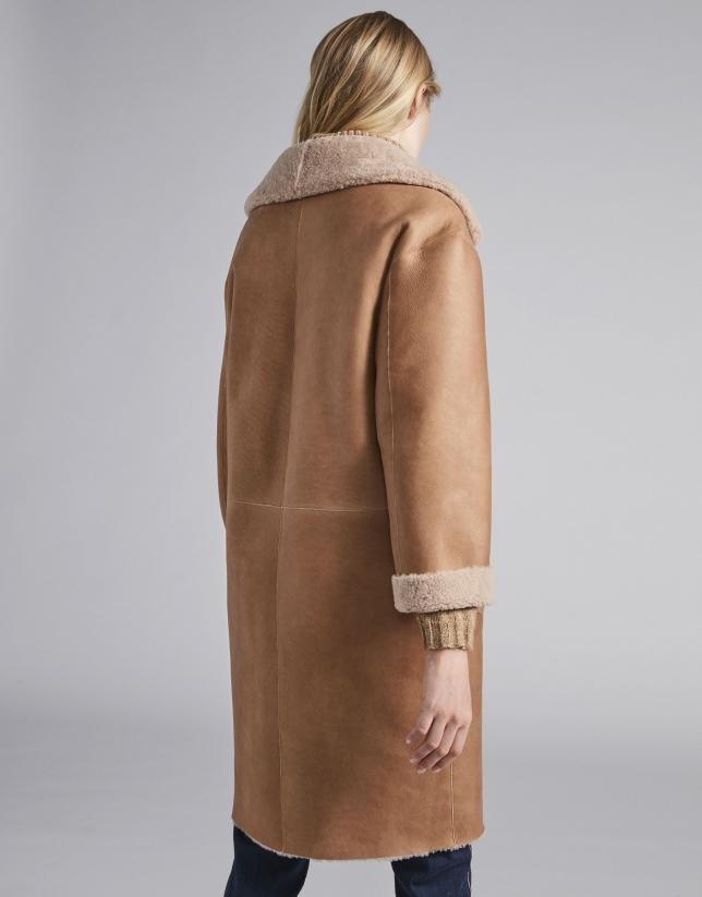 Beige, double-faced, reversible coat