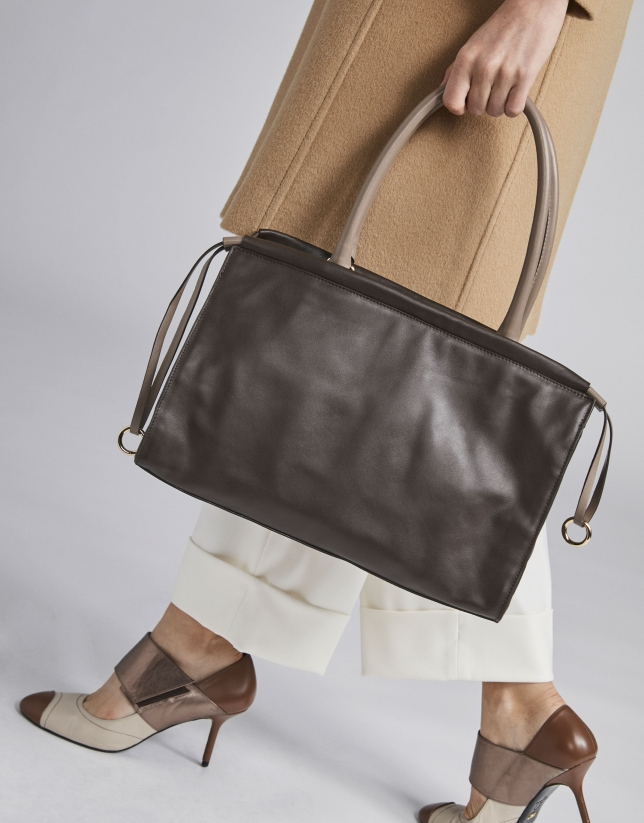 Brown Journal shoulder bag