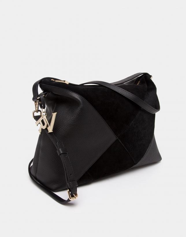 Sac porté épaule Ava noir en patchwork