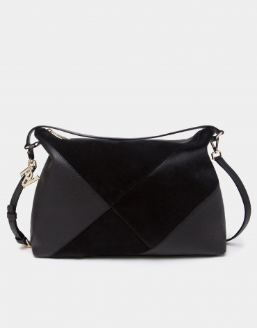 Black Ava patchwork shoulder bag