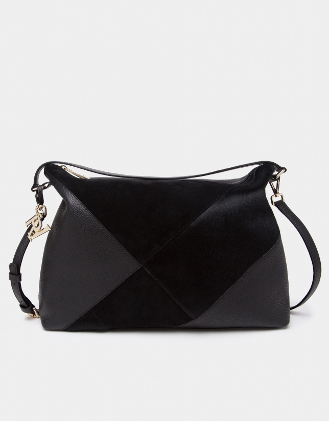 44647997a Bolso Ava de hombro negro patchwork - Mujer | Roberto Verino