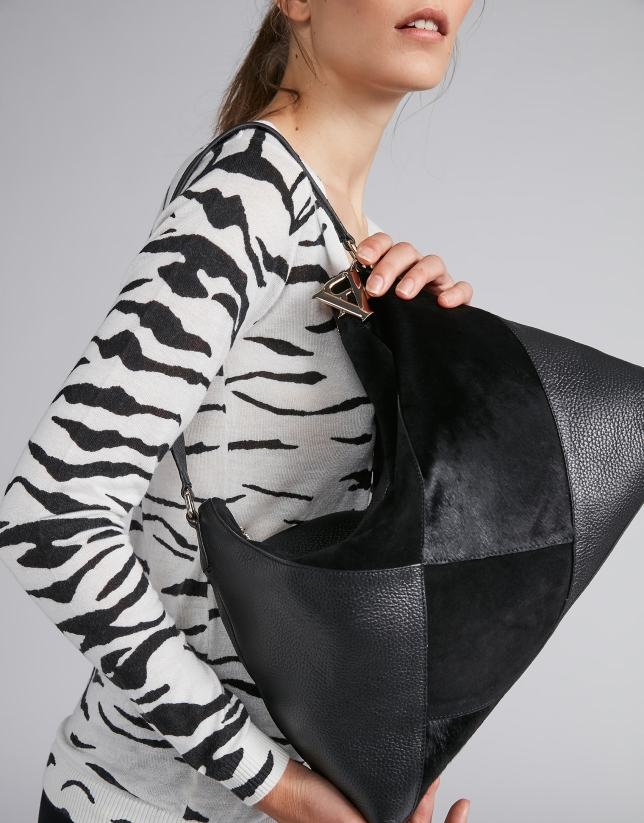 Bolso Ava de hombro negro patchwork