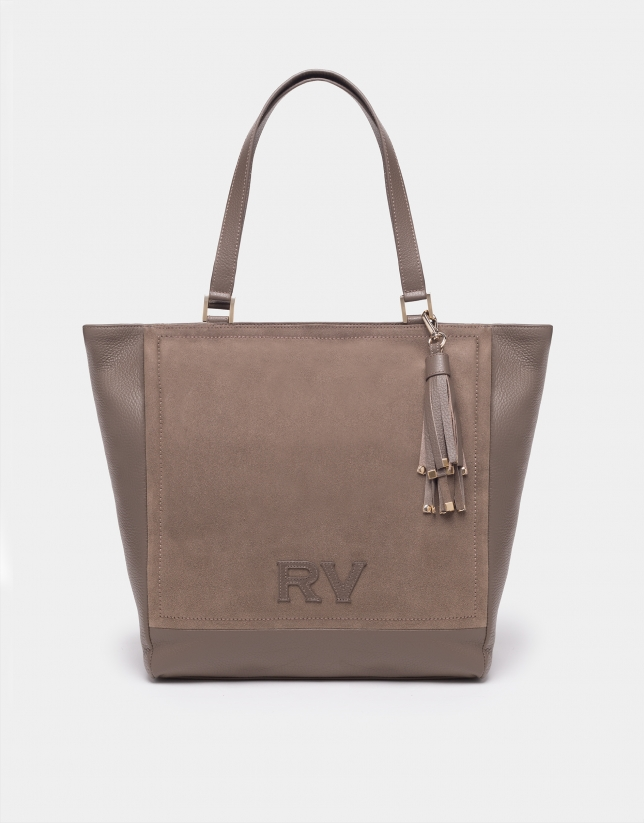 Taupe leather Louvre tote bag