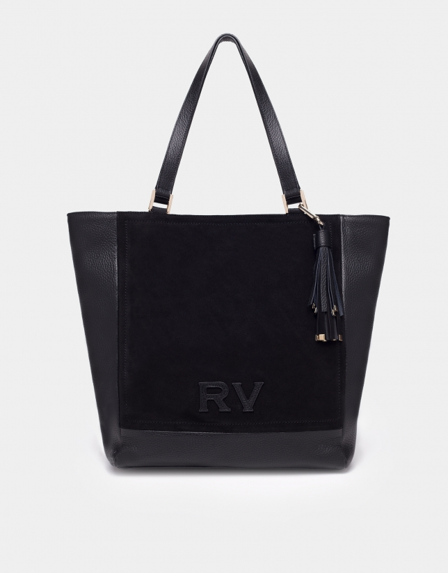 Black leather Louvre tote bag