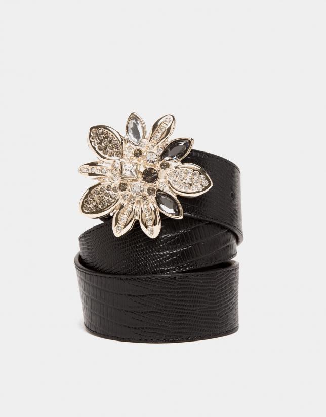 Black tejus embossed leather belt