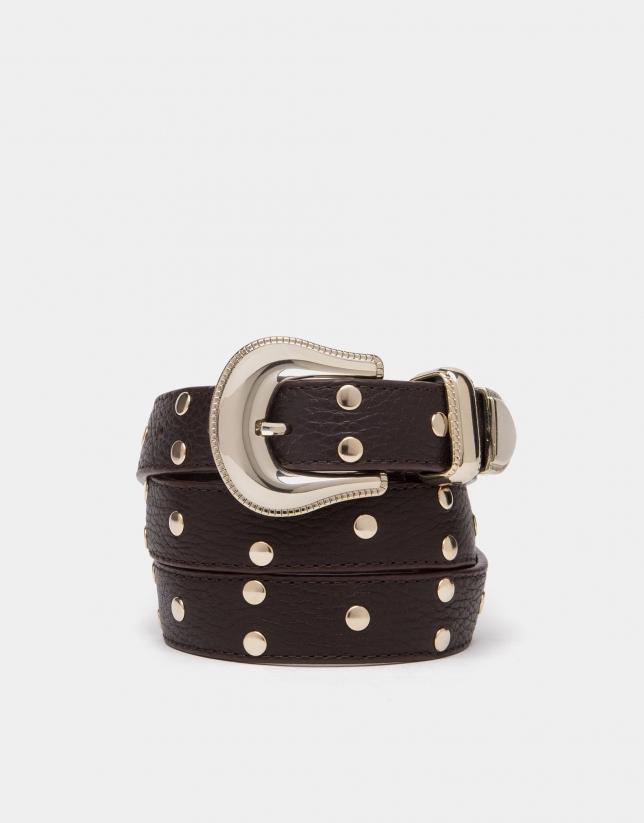Black leather belt with metallic trim