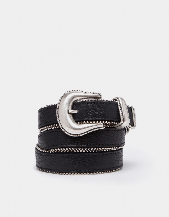 Black leather belt with studs