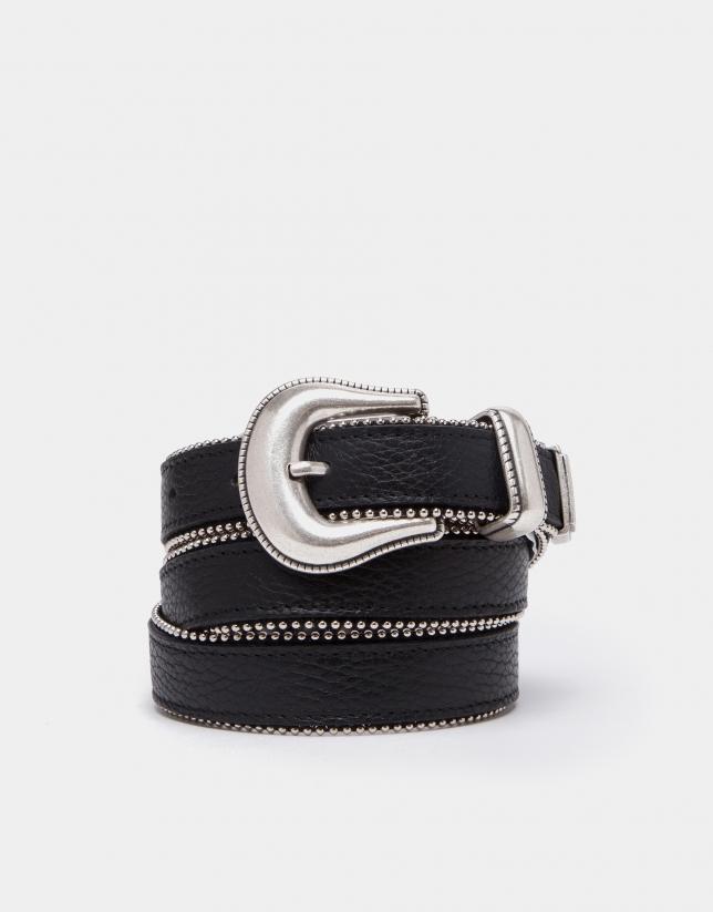 Cinturón piel negro con vivo metálico