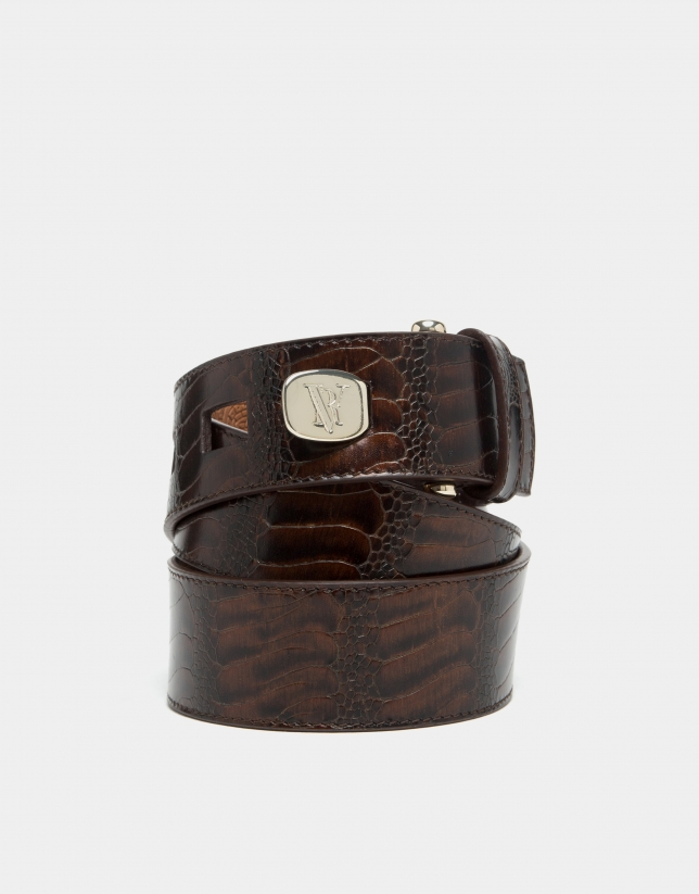 Brown embossed python leather belt