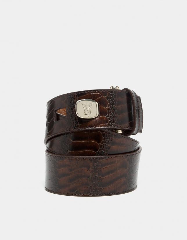 Brown embossed python leather belt