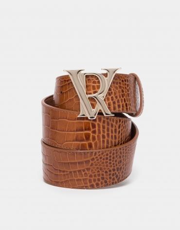 Cinturón piel coco avellana