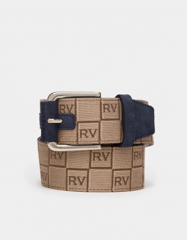 Blue canvas belt with RV logos