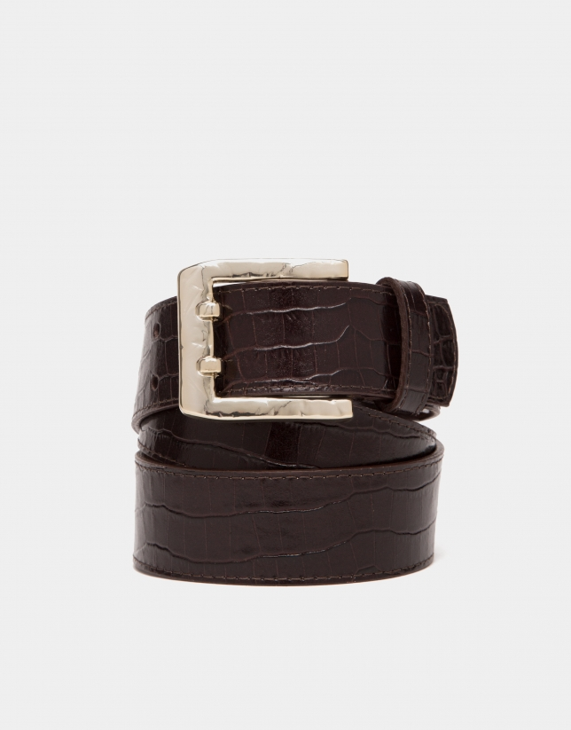 Brown alligator leather belt