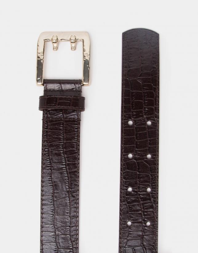 Cinturón piel coco marrón
