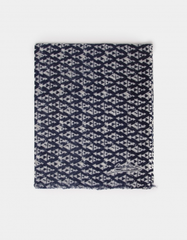Navy blue wool foulard with gray print