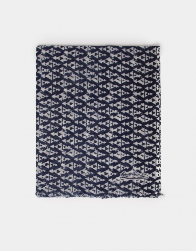 Fular lana marino estampado gris